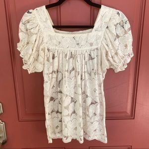 Trulli Petite XSP lace short sleeved top